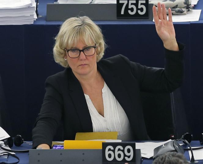 La députée européenne(LR), NadineMorano, au parlement deStrasbourg, le 8 octobre 2015.