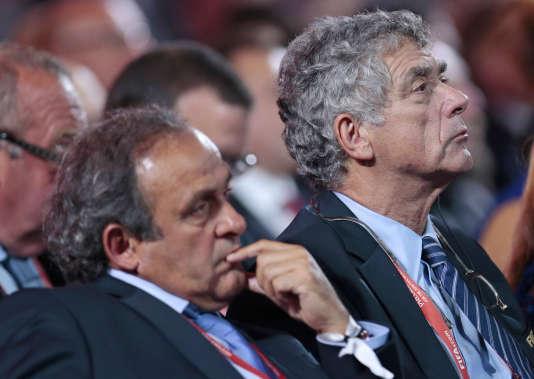 Michel Platini et Angel Maria Villar, en juillet 2015.