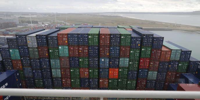 Containers dans le port du Havre, le 6 octobre.