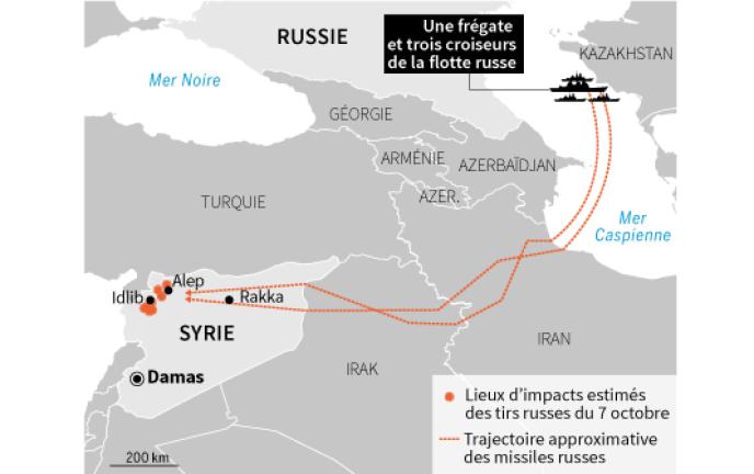 Les frappes russes en Syrie, depuis la mer Caspienne.