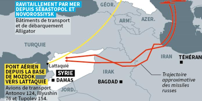Syrie : dans les airs, sur terre ou sur mer, le dispositif militaire russe en carte