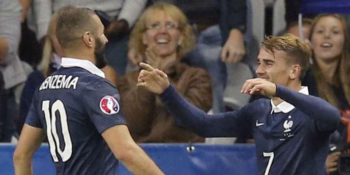Antoine Griezmann et Karim Benzema, buteurs contre l'Arménie, le 8 octobre à Nice.
