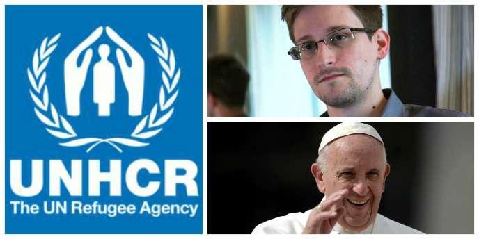 Le Haut-Commissariat des Nations unies pour les réfugiés, Edward Snowden (Reuters) et le pape François (Filippo Monteforte/AFP).