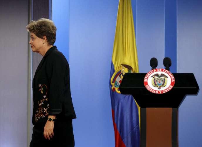 La présidente brésilienne Dilma Rousseff, le 9 octobre 2015, lors de la conférence bipartite à Bogota, en Colombie.