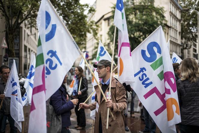 Manifestation d'enseignants, le17septembre, à Lyon.