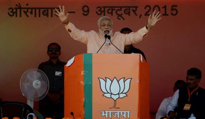 Le premier ministre indien Narendra Modi en campagne dans l'Etat du Bihar le 9 octobre.