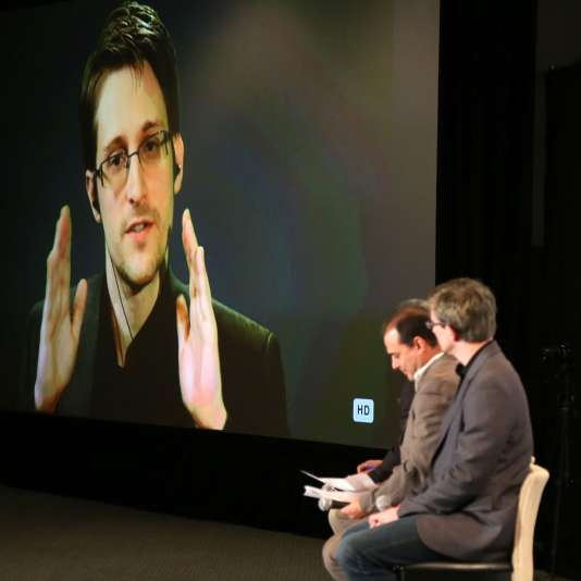 Edward Snowden, qui participe, le 10 octobre dernier, à une conférence à Los Angeles (Etats-Unis), par vidéoconférence.