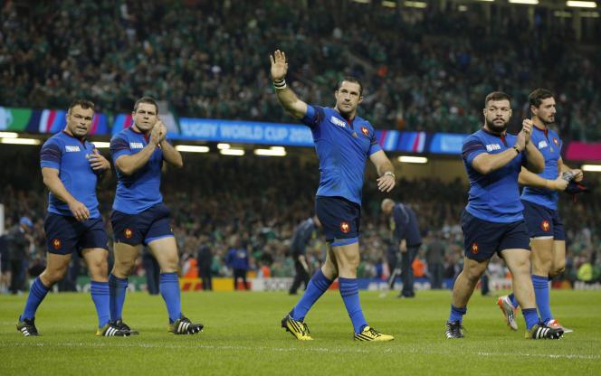 Les Français contre l'Irlande, à Cardiff, le 11 octobre.
