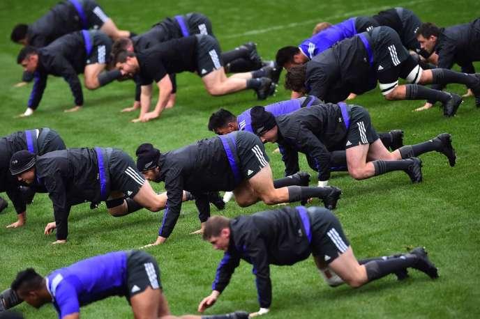 La Nouvelle-Zélande à l'entraînement, le 7 octobre à Darlington.