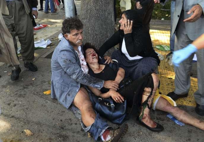 Des blessés de l'attentat perpétré à Ankara (Turquie) le 10 octobre.