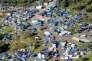 Vue aérienne de la jungle de Calais où survivent 3500 personnes.