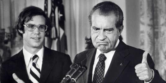 Richard Nixon lors de ses adieux au personnel de la Maison blanche en 1974.