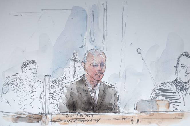 Croquis représentant Tony Meilhon lors de son procès en appel à Rennes, le 13 octobre.