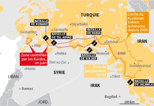 Carte de la présence kurde en Syrie.