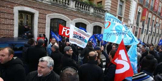 Manifestation à l'appel des syndicats de police en février 2014.