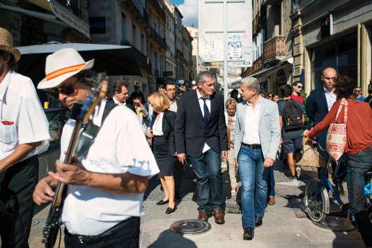 Philippe Saurel à Montpellier, pendant la grande braderie d'automne du centre-ville, en octobre 2015.