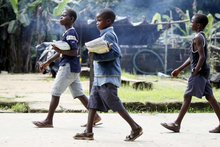 Des écoliers à Ikarama, un village du Nigeria, en octobre.