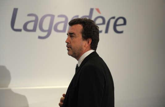 Le PDG du groupe, Arnaud Lagardère, lors de la présentation de ses résultats annuels, en mars 2015.