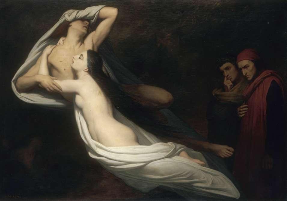 """""""Dans la """"Divine Comédie"""" de Dante, le poète, accompagné de Virgile, rencontre le couple mythique de Francesca et Paolo, son beau-frère et amant, qui fut tué par le mari. Dans la composition d'Ary Scheffer les deux corps enlacés dans une diagonale expressive montrent encore la volupté incandescente de leur passion partagée ; mais leur pâleur désigne autant la mort que la pureté de leur amour, découpé sur un fond de nuit angoissante."""""""