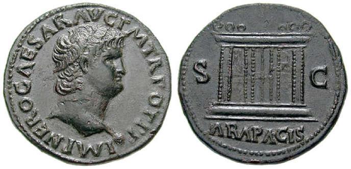 Une pièce à l'effigie de Néron, env. 66 ap. J.-C.