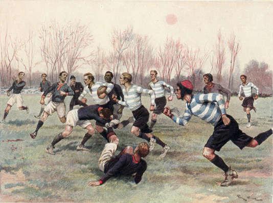« Partie de Championnat au Parc de Saint-Cloud », entre le Stade français et le Racing Métro en 1906.
