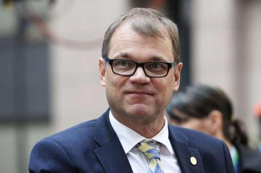 Le premier ministre finlandais Juha Sipila lors d'un sommet européen consacré à la crise des migrants le 15 octobre.
