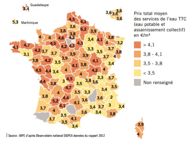 Prix moyen par mètre cube des services d'eau par département en 2012 (sur la base d'une consommation de 120 m3 par an)