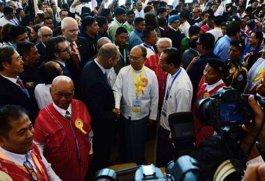 Le président Thein Sein lors de la cérémonie de signature, le 15 octobre.