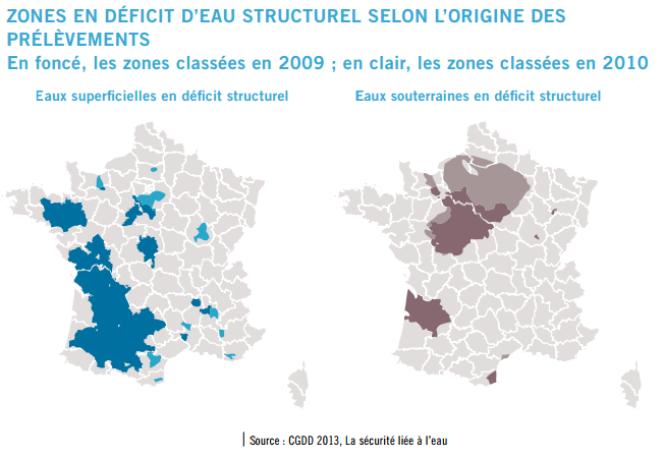Cartes des zones métropolitaines en déficit structurel en eaux de surface et souterraines.