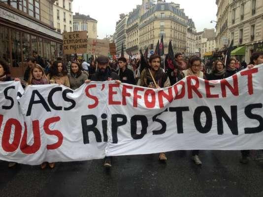 Manifestation des syndicats de l'enseignement supérieur, vendredi 16 octobre à Paris.