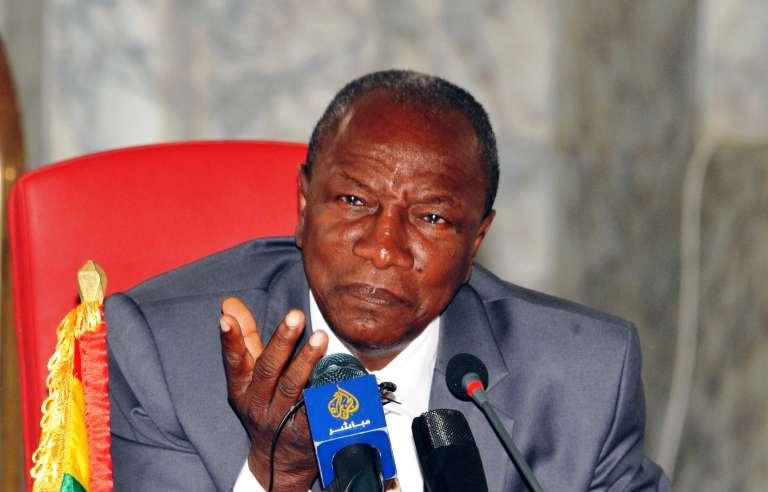 Alpha Condé le 27 août au palais présidentiel à Conakry.