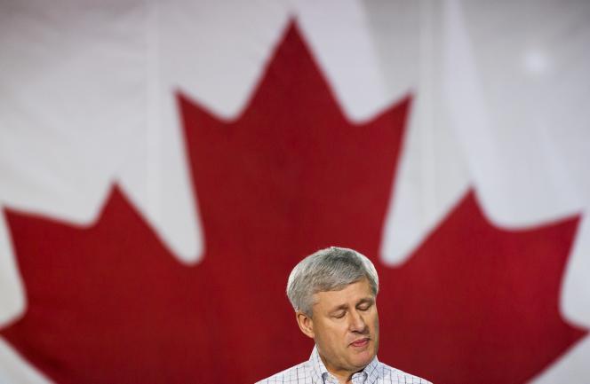 Le premier ministre canadien conservateur, Stephen Harper, le 16 octobre, à Fredericton (Nouveau-Brunswick).