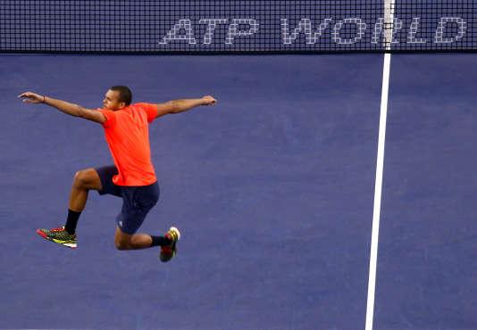 Jo-Wilfried Tsonga, samedi 17 octobre à Shanghai,  heureux de se qualifier pour la finale après avoir éliminé Rafael Nadal.