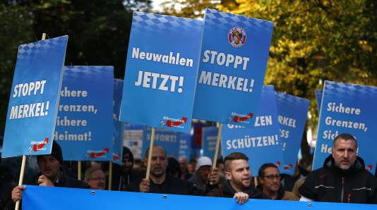 Manifestation d'extrême droite à Freilassing, le 17 octobre.