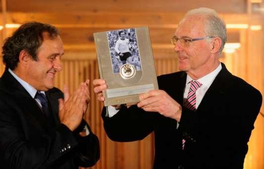 Michel Platini et Franz Beckenbauer en 2013