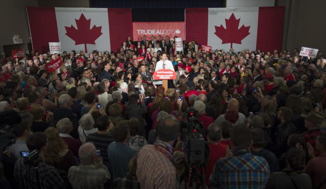 Le leader libéral Justin Trudeau, le 17 octobre, à Winnipeg, province du Manitoba.