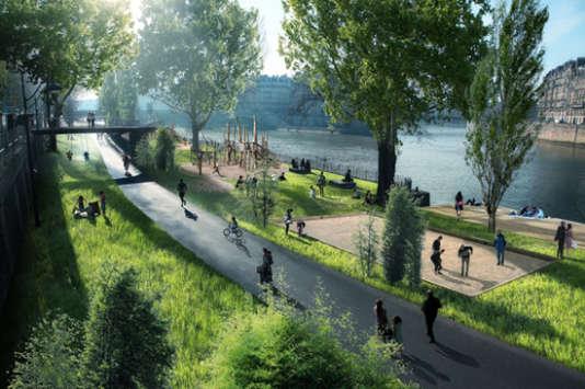 Proposition d'aménagement dédié aux enfants et à la nature – port de l'Hôtel de Ville.