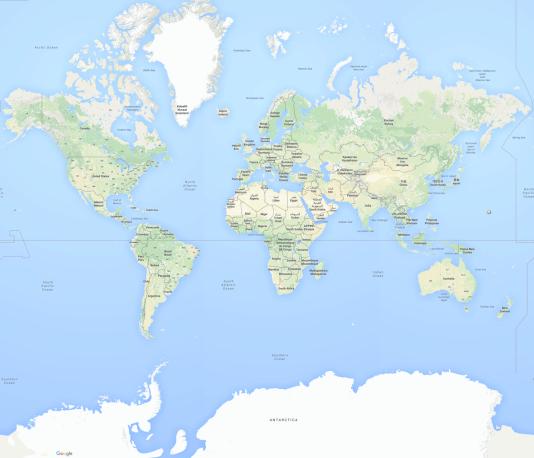 Le fond de carte « Maps » de Google utilise la projection Mercator, inventée pour les navigateurs au XVIe siècle.