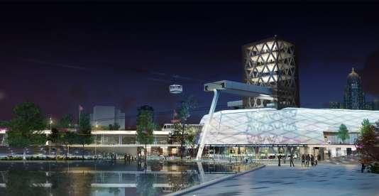 Le quartier Khan Sathyr d'Astana en2030 imaginé par le démonstrateur interactif 3D Astainable.