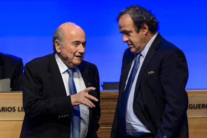 Joseph Blatter et Michel Platini, à Sao Paulo en 2014.