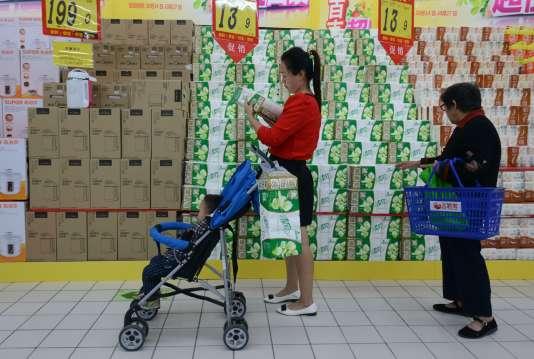 Dans un supermarché de Fuyang en Chine le 14 octobre 2015.