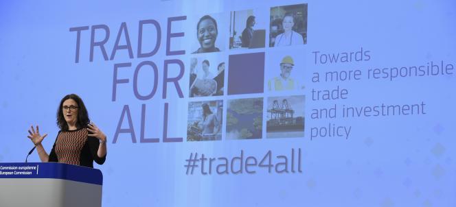 Cecilia Malmström, commissaire européenne chargée du commerce, le 14octobre, à Bruxelles.