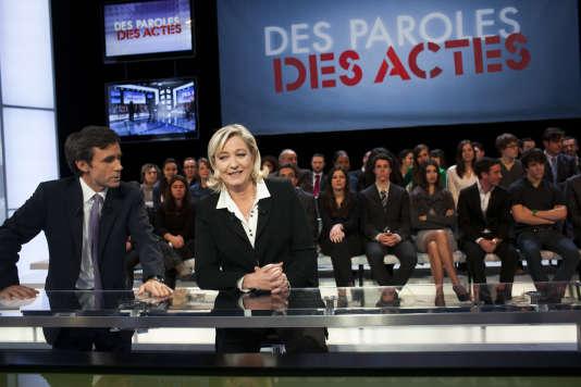 L'émission «Des paroles et des actes» du 23février2012, avec Marine LePen.