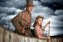 """Gary Cooper et Mari Aldon dans le film américain de Raoul Walsh, """"Les Aventures du capitaine Wyatt"""" (""""Distant Drums""""), réalisé en 1951."""