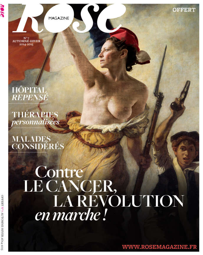 La couverture dunuméro d'octobre 2014 de «Rose magazine»,  un féminin gratuit distribué dans leshôpitaux.