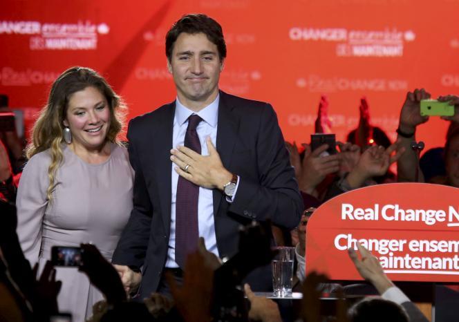 Justin Trudeau et sa femme, à Montréal.