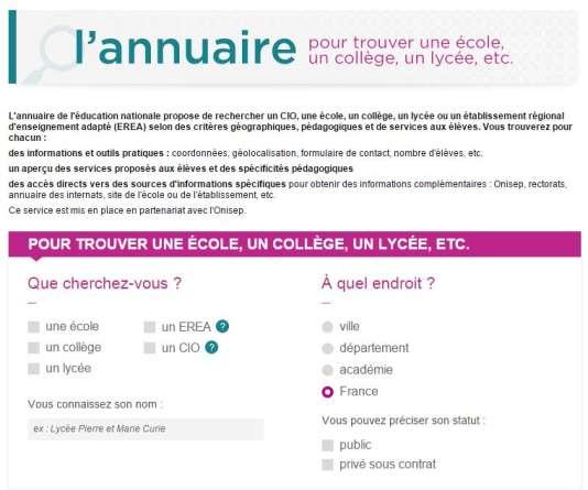 Annuaire des Centres d'information et d'orientation. http://www.education.gouv.fr/pid24301/annuaire-accueil-recherche.html