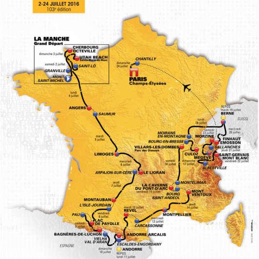 Le parcours de l'édition 2016 du Tour de France.