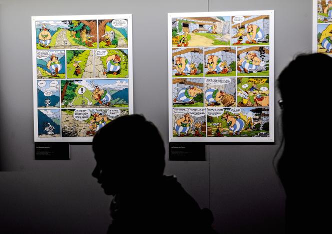 Planches d'Astérix exposées lors d'un hommage à Uderzo au 40e Festival d'Angoulême, en 2013.