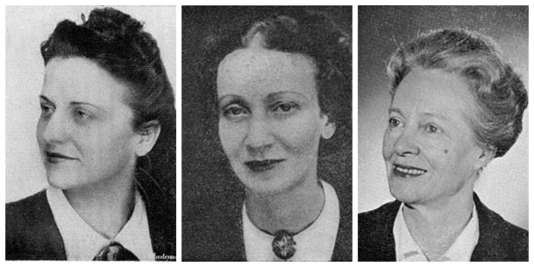 Raymonde Nédelec (à gauche), Madeleine Léo-Lagrange (au centre) et Marie-Claude Vaillant-Couturier (à droite).
